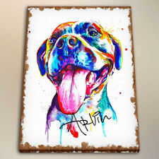 HD Canvas Print Kids Room Art Decor Watercolor Painting Colorful Pit Bull 24x28