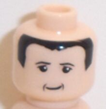 Lego Light Flesh Minifig Head x 1 with Black Hair & Smile for Minifigure