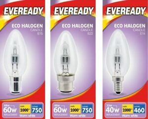 Eveready Candle Halogen Opal / Clear Lamps 25W / 40W / 60W - SES, SBC, ES, BC