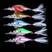 5pcs Feather Hook Group Crank Bait Bass CrankBaits Tackle Fishing Lures 6.5cm 6g