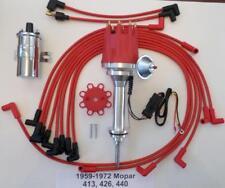 small cap 59-72 MOPAR 413 426 440 RED HEI Distributor + Chrome Coil + Plug Wires