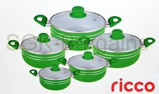 INDUCTION COOKWARE 5PC NON STICK CERAMIC COATED DIE-CAST CASSEROLE SET GREEN -R