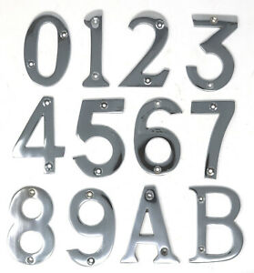 "Chromed Brass Door Chrome Numbers Letters House Flat Shop 75mm 3"" with Fixings"