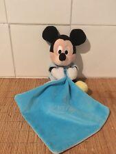 Doudou Plat Peluche Bébé Mickey Bleu Nicotoy Disney