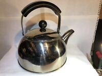 Vintage Tea Pot Kettle Stainless Steel Silver W/Black Handle