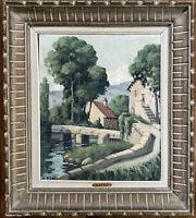 Ecole de Montmorillon Paysage Village au Pont Huile signée Raoul Eteve 1902-1967