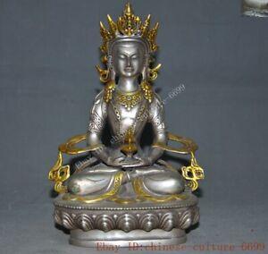 Tibet Buddhism Tibetan silver Gilt Kwan-Yin GuanYin goddess White Tarai statue