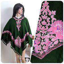 Vintage Green Embroidered Oriental Poncho Shawl Wool Fine Knit Boho S M 8 10 12