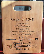 CUSTOM LASER ENGRAVED BAMBOO CUTTING BOARD WEDDING ANNIVERSARY GIFT IDEA