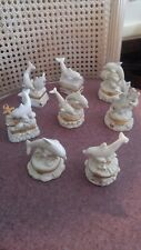 Lot of 8 Lenox Treasures Ivory Porcelain Dolphin  Trinket Boxs Gold Accents