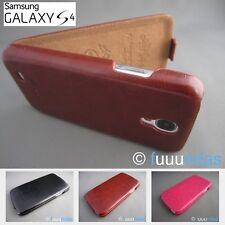 Funda de piel con tapa para Samsung Galaxy S4 Negra, Marrón o Rosa Fucsia