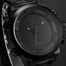 SHARK Mens Fashion LED Digital Date Day Stainless Steel Quartz Sport Watch+Box