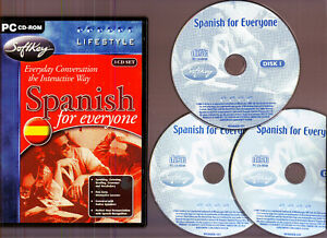 SPANISH FOR EVERYONE. 3 CD FOREIGN LANGUAGE SOFTWARE SET FOR THE PC!!