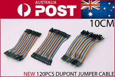 120pcs 100mm Dupont Breadboard Jumper Cable Hookup Wire 10cm 120pieces AU