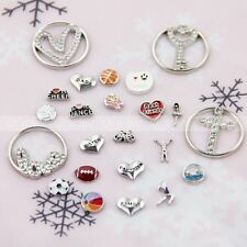 Fashion Floating Locket Charms Plate Sports for Glass Living Memory Lockets New