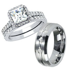 His Tungsten Hers 925 Sterling Silver Princess Cut CZ Wedding Rings Band Sets