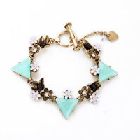 Exquiste Anthropolo​​gie Foriella Teal Bead Flower Rustic Bracelet