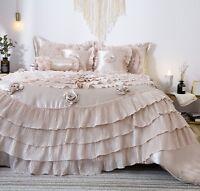 Tache 6 Pc Fancy Frosted Fields Faux Satin Ruffled Luxury Comforter Bedding Set