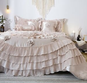 Tache Champagne Fancy Satin Ruffled Luxury Wedding Comforter Bedding Quilt Set