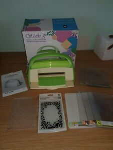 Cuttlebug die cutting machine and accessories.