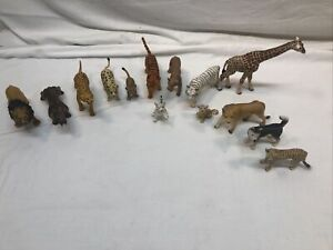Plastic Zoo Animal Toy Figure Schleich And Other Brands Mixed Lot Of 14