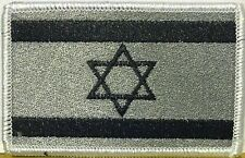 ISRAEL JEW Flag Iron-On Tactical Patch Black & Gray Version, White Border #40