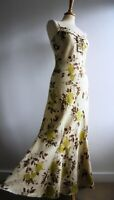 PER UNA Green 100% Linen Sun Dress Floral Marks and Spencer Size 12r