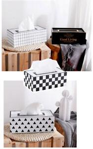Black White Check Tissue Box Cover Holder Bathroom Home Decor Paper Napkin Box