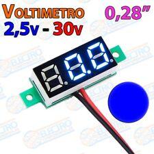 Mini Voltimetro 2,5v - 30v DC 0,28 Pulgadas 2 hilos - AZUL - Arduino Electronica