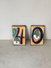 pottery glazed address number tiles 4 And 0 Art Signed