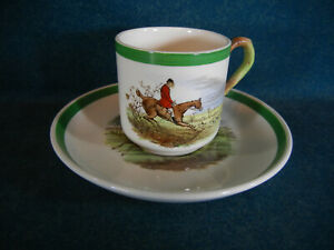 Copeland Spode Herring Hunt Demitasse Cup and Saucer Set