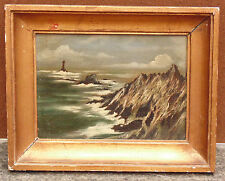 rare ancien magnifique tableau huile/ bois signé hunt metayer marine bretagne n2