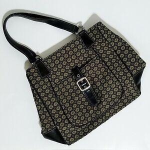 Nine West Purse Handbag Tote Black Tan Squares Buckle Accent
