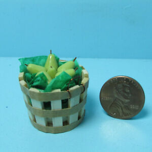 Dollhouse Miniature Wood Fruit Bushel Basket Filled with Pears
