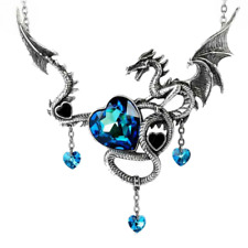 ALCHEMY DRAIG O GARIAD HUGE DRAGON NECKLACE, Blue Swarovski Hearts Gothic Pewter