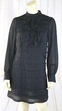 Jenny Han Silk Dress S Black Half Button Ruffle Front ShirtDress Lined Side Zip