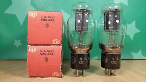 Perfectly Matched Pair of RCA USN CRC 2A3 NOS NIB Black Plate 1942 Vacuum Tubes