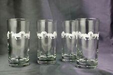 VTG Libbey Clear 4 High Ball Drinking Glasses Clear White Galloping Horses 5.5 ""