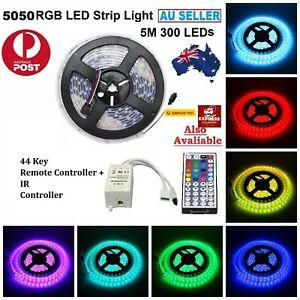 5050 SMD 12V 5M Flexible Waterproof RGB LED Strip Light Cabinet Room Party AUS