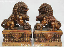 "13"" Chinese Bronze Gilt Foo Fu Dog Guardion Lion Lions Play Ball Statue Pair"
