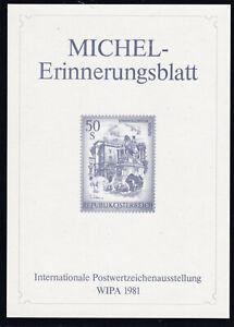 WIPA 1981 Michl Erinnerungsblatt zur Internationalen Postwertzeichenausstellung