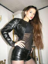 Vera Pelle Bolero Giacca nero in pelle leather borchie Bolero Giacca di Pelle M
