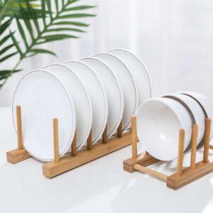 Bamboo Wooden Dish Rack Plate Holder Kitchen Storage Cabinet Organizer Stand USA