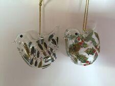 Gisela Graham Set of 2 Glass Bird Christmas Decorations Holly Mistletoe