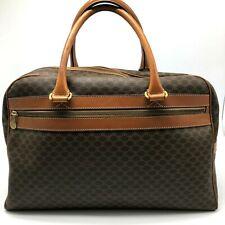 Authentic Celine Boston bag Macadam Brown PVC leather