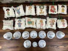 Precious Moments Set of 10 Porcelain Christmas Bells & 12 Fabric Ornaments
