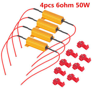 4 x 50W Load 6 ohm Resistors LED Bulb Fast Hyper Flash Turn Signal Error Blinker