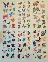 6er Set Schmetterlinge halbtransparent Kinder basteln Sticker Aufkleber