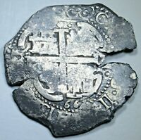1667 Shipwreck Spanish Bolivia 8 Reales Antique Silver Dollar Cob Pirate Coin