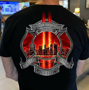 Firefighter Never forget 9-11-01, Twin Towers, 20th Anniversary Memorial T-Shirt